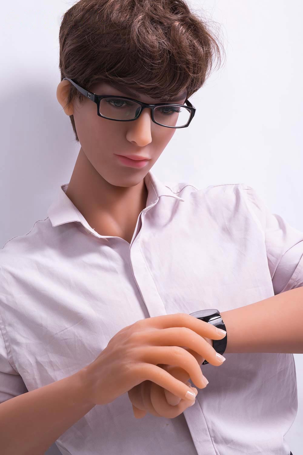 Male-sex-doll-looking-at-watch