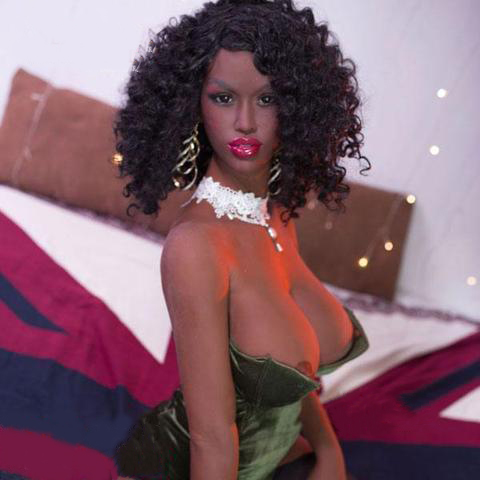 Black sex doll with black curly hair