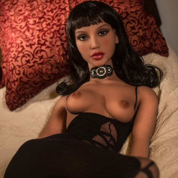 Black sex doll with hands on the anus