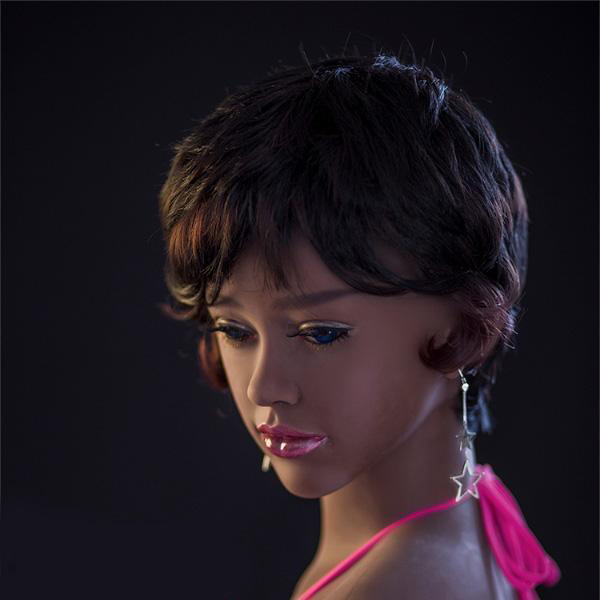 Black sex doll with pink reflective lips
